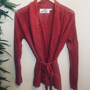 Anthropologie Rosie Neim red crochet wrap sweater